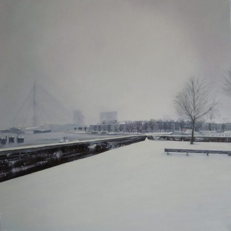 Erasmusbrug in de sneeuw vierluik